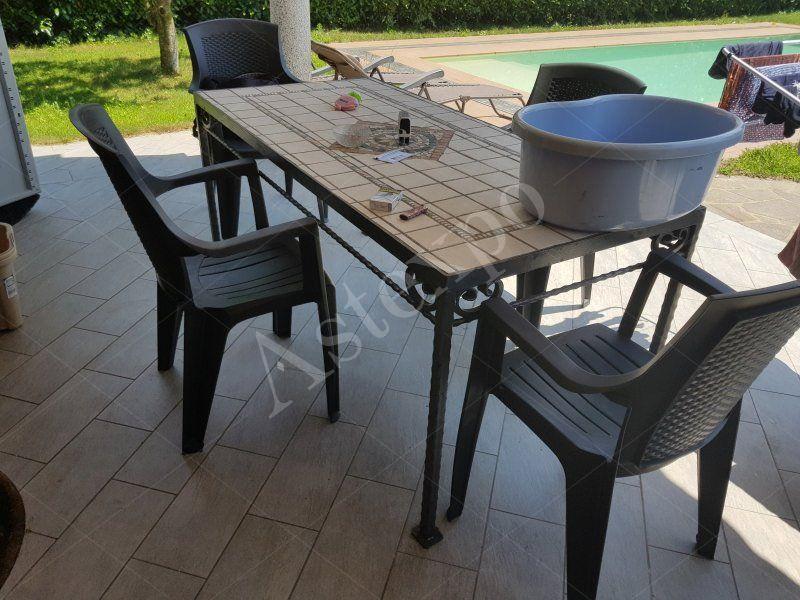 Tavoli In Maiolica Da Giardino.Tavolo Rettangolare In Ferro E Ceramica Da Giardino Aste